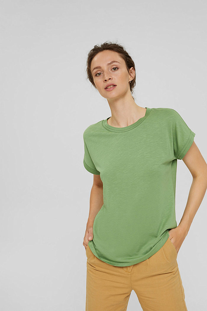 Top with openwork details, organic cotton/TENCEL™, LEAF GREEN, detail image number 0