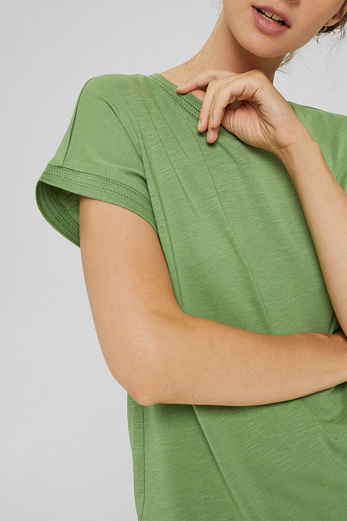 Top with openwork details, organic cotton/TENCEL™, LEAF GREEN, detail image number 2