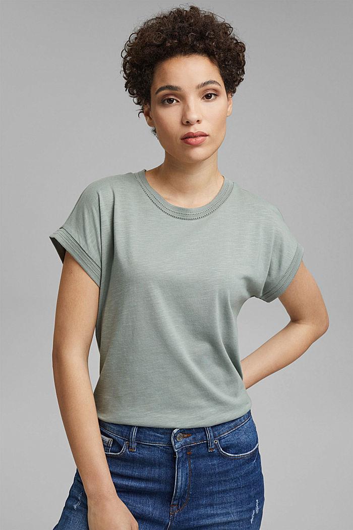 Shirt mit Ajour-Details, Bio-Baumwolle/TENCEL™, TURQUOISE, detail image number 0
