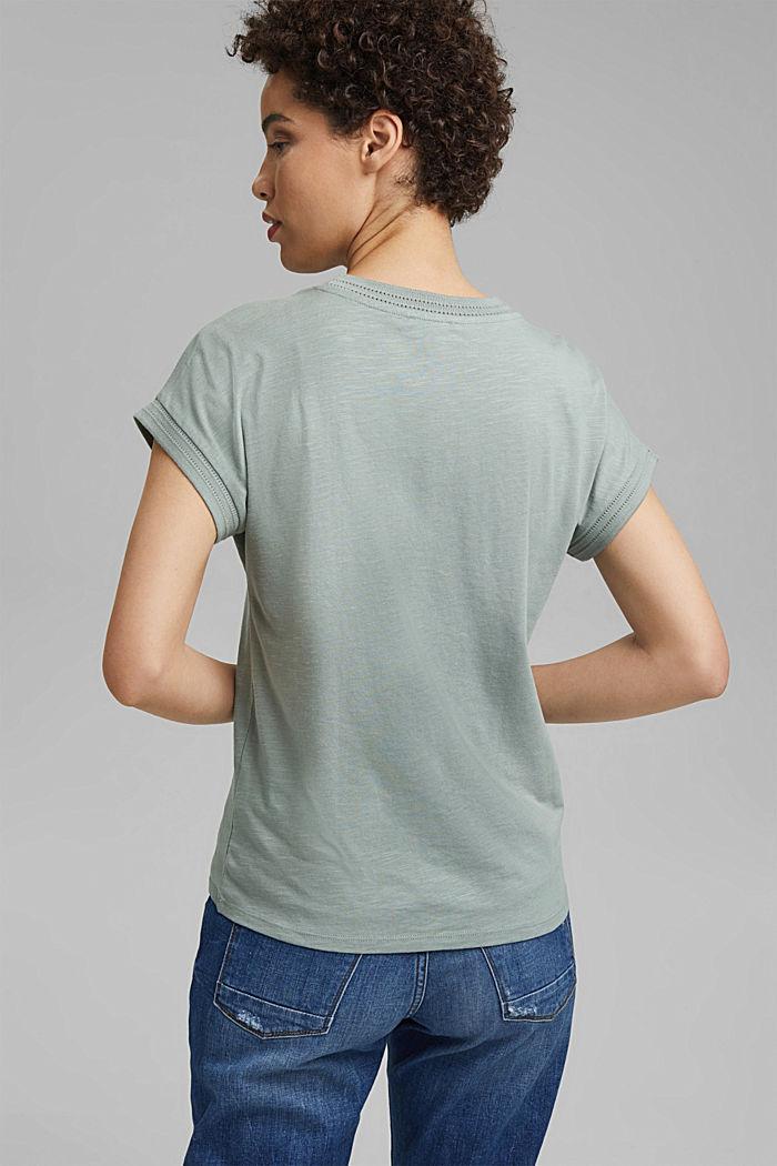 Shirt mit Ajour-Details, Bio-Baumwolle/TENCEL™, TURQUOISE, detail image number 3