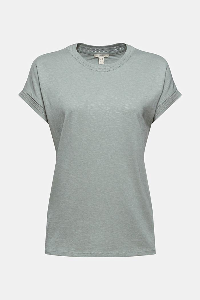 Shirt mit Ajour-Details, Bio-Baumwolle/TENCEL™, TURQUOISE, detail image number 7