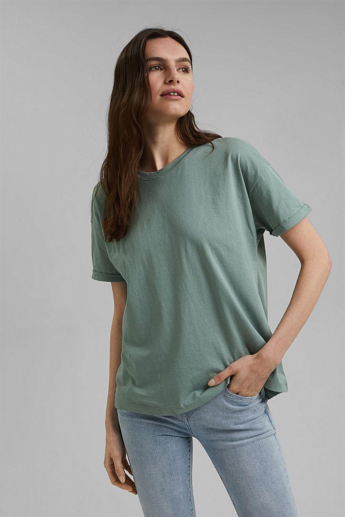 T-paita 100 % luomupuuvillaa, TURQUOISE, detail image number 0