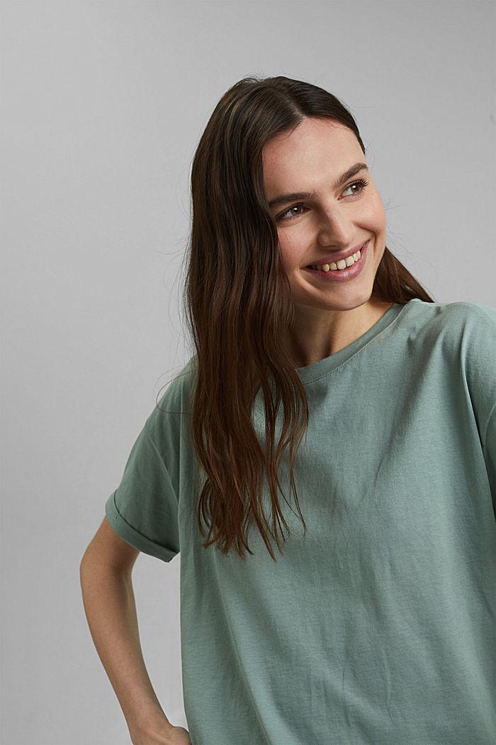 T-paita 100 % luomupuuvillaa, TURQUOISE, detail image number 5