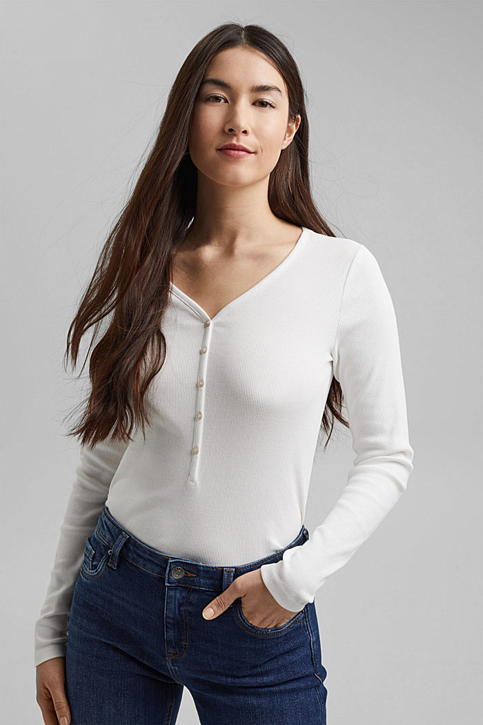 Henley long sleeve top made of organic cotton, OFF WHITE, detail image number 0