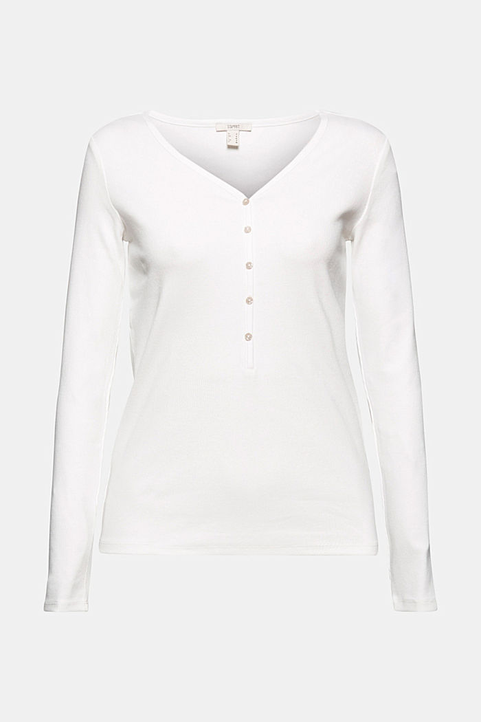 Henley long sleeve top made of organic cotton, OFF WHITE, detail image number 5