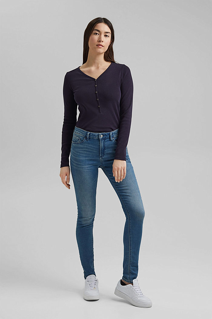 Henley long sleeve top made of organic cotton, NAVY, detail image number 1