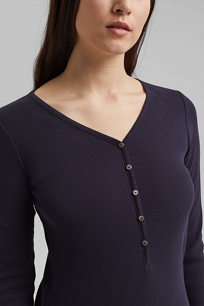 Henley long sleeve top made of organic cotton, NAVY, detail image number 2