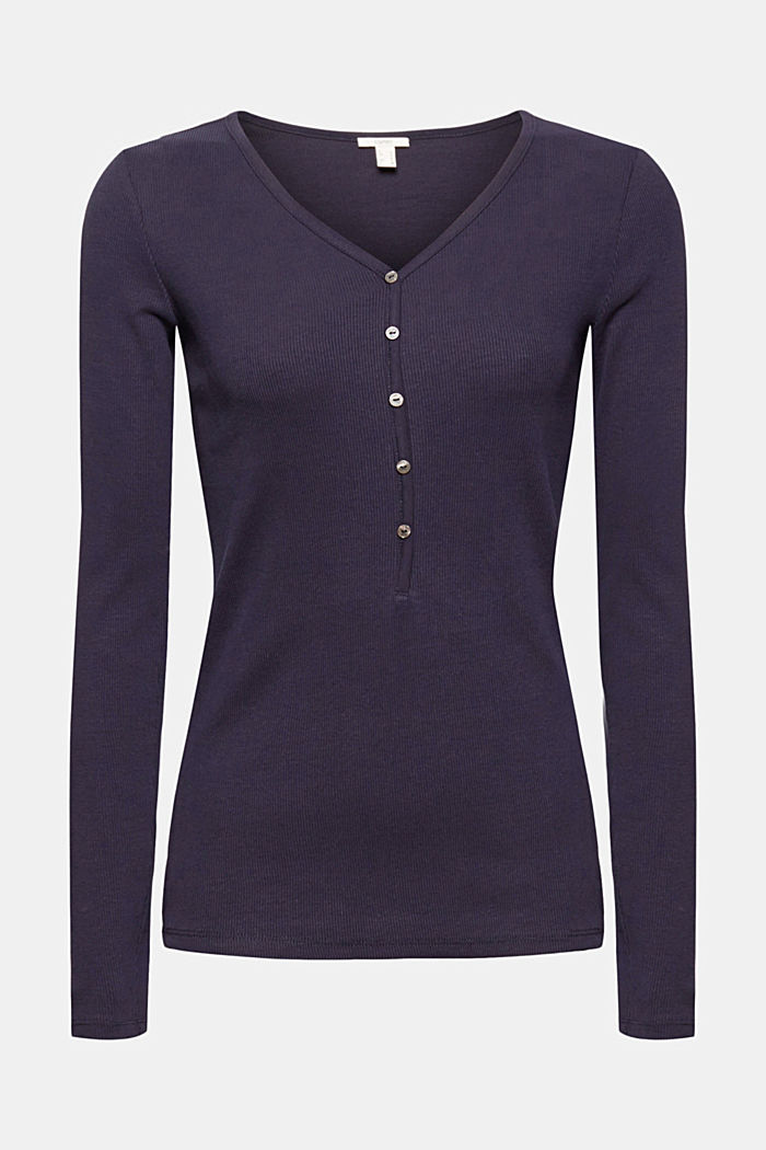 Henley long sleeve top made of organic cotton, NAVY, detail image number 5