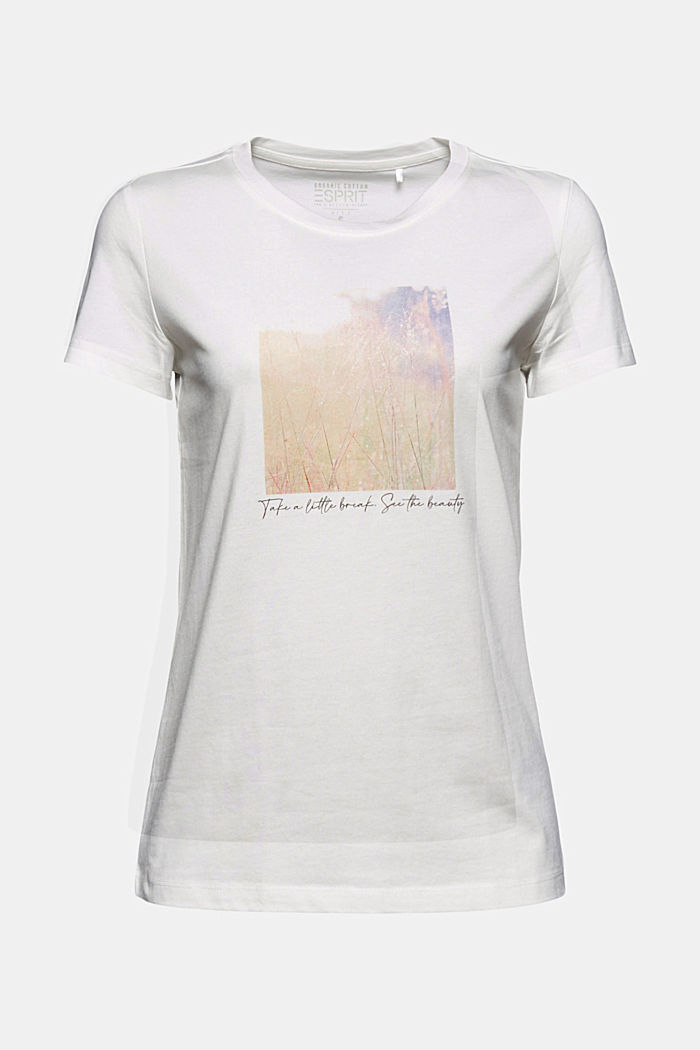 Organic cotton print T-shirt, OFF WHITE, detail image number 5