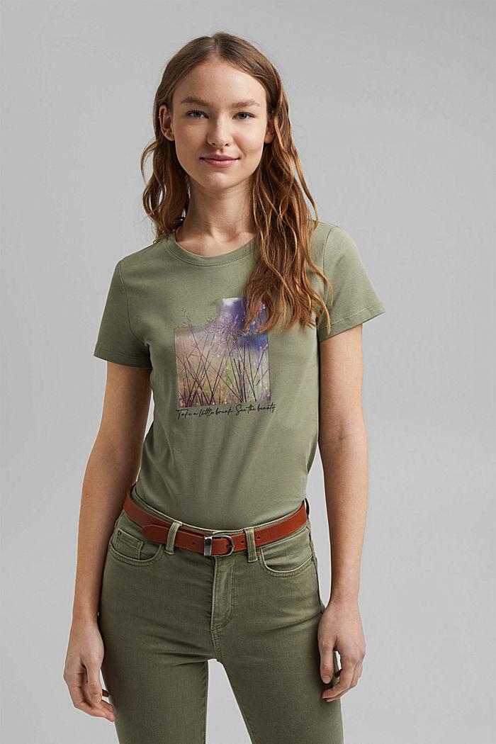 T-shirt imprimé en coton biologique, LIGHT KHAKI, detail image number 0