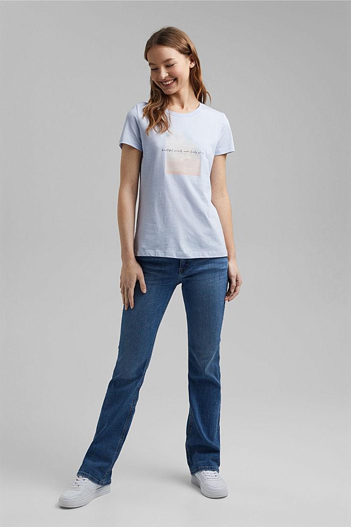 Organic cotton print T-shirt, PASTEL BLUE, detail image number 1