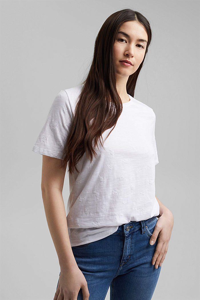 Recycled: top with embroidery and organic cotton, WHITE, detail image number 0