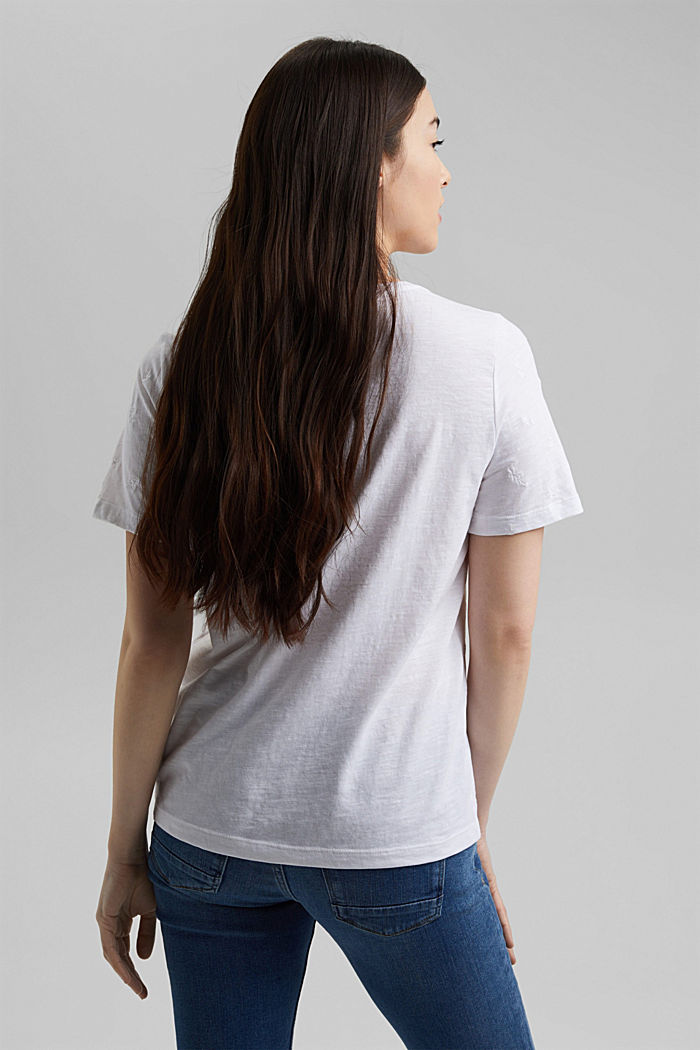 Recycled: top with embroidery and organic cotton, WHITE, detail image number 3