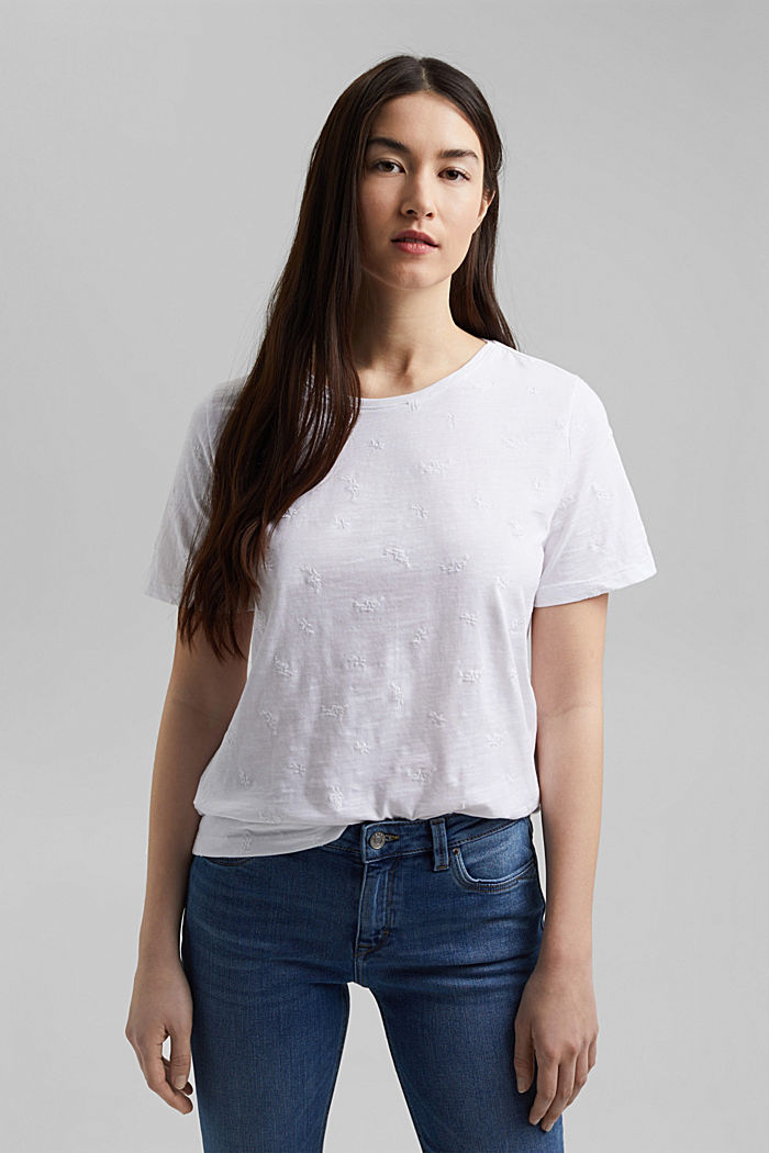 Recycled: top with embroidery and organic cotton, WHITE, detail image number 5