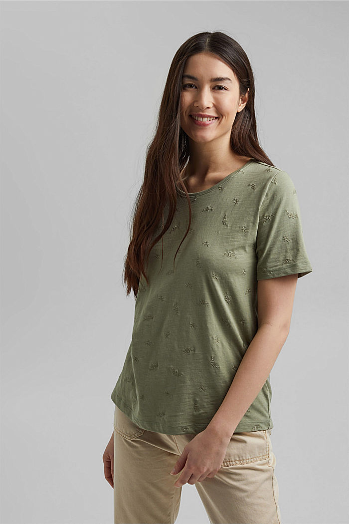 Recycled: top with embroidery and organic cotton, LIGHT KHAKI, detail image number 0