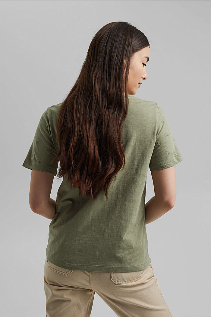 Recycled: top with embroidery and organic cotton, LIGHT KHAKI, detail image number 3