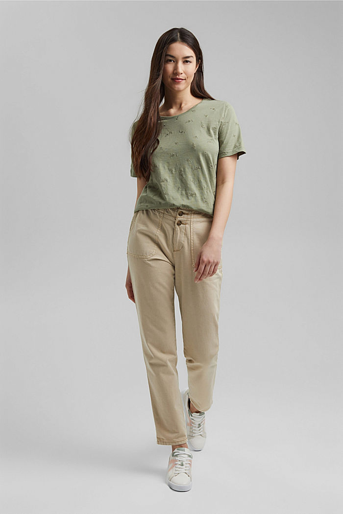 Recycled: top with embroidery and organic cotton, LIGHT KHAKI, detail image number 6