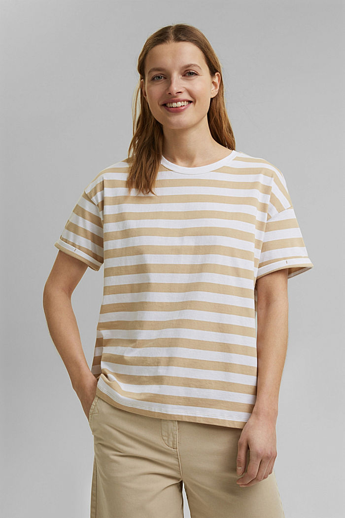 Striped T-shirt made of 100% organic cotton, SAND, detail image number 0