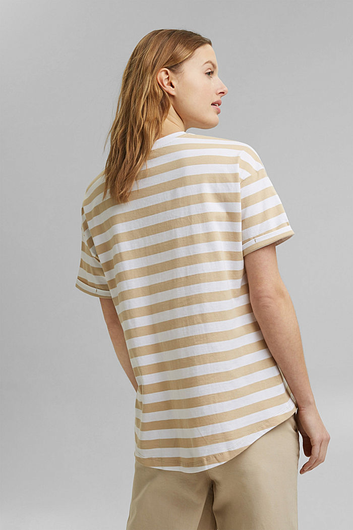 Striped T-shirt made of 100% organic cotton, SAND, detail image number 3