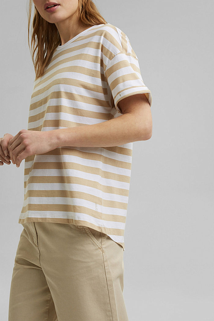 Striped T-shirt made of 100% organic cotton, SAND, detail image number 2