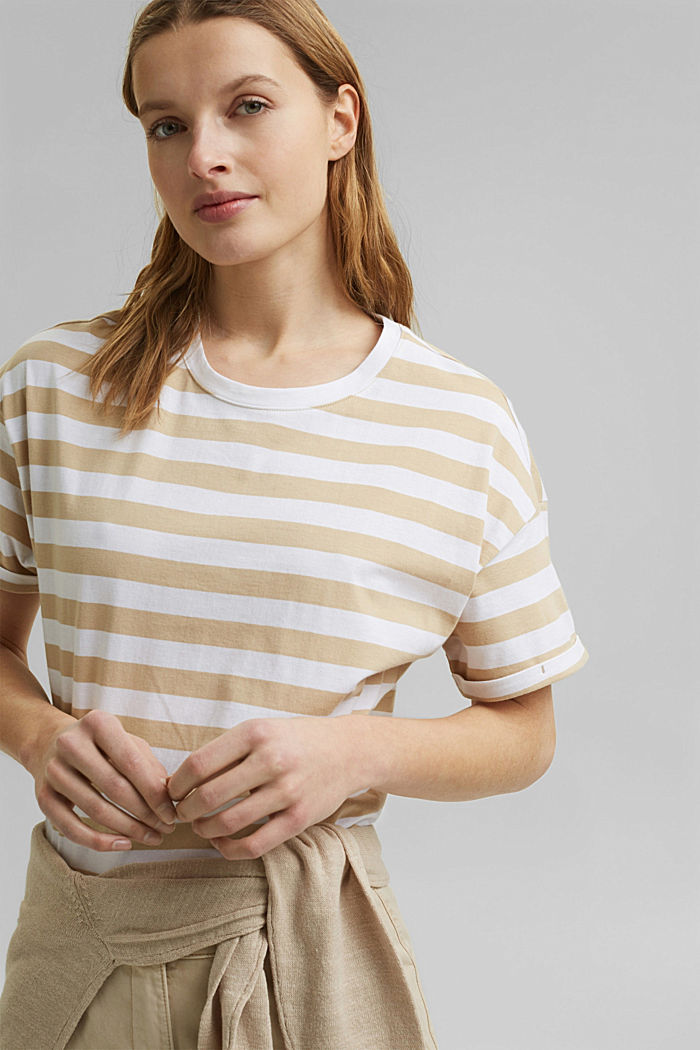 Striped T-shirt made of 100% organic cotton, SAND, detail image number 5