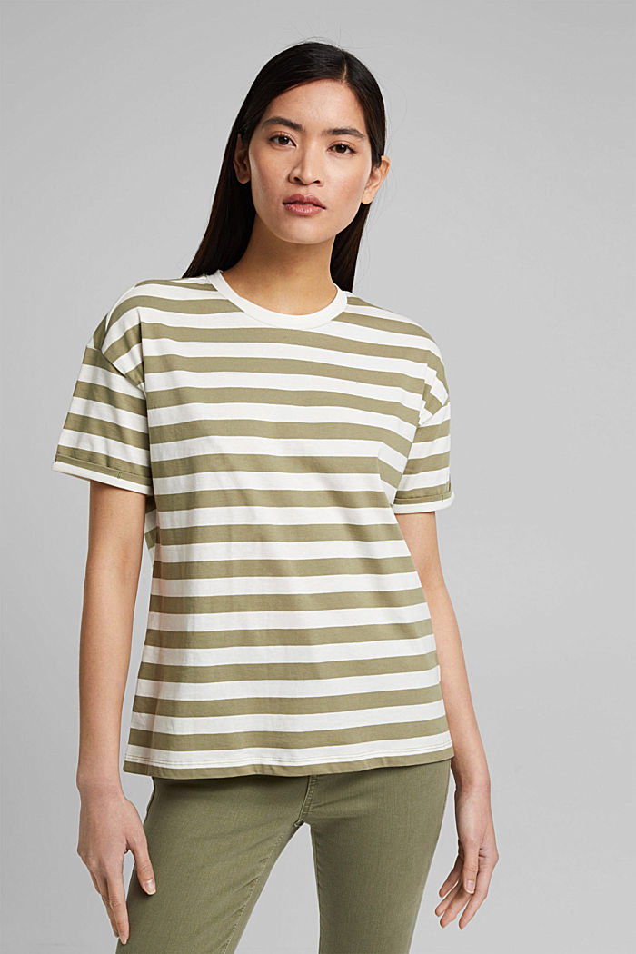 Striped T-shirt made of 100% organic cotton, LIGHT KHAKI, detail image number 0