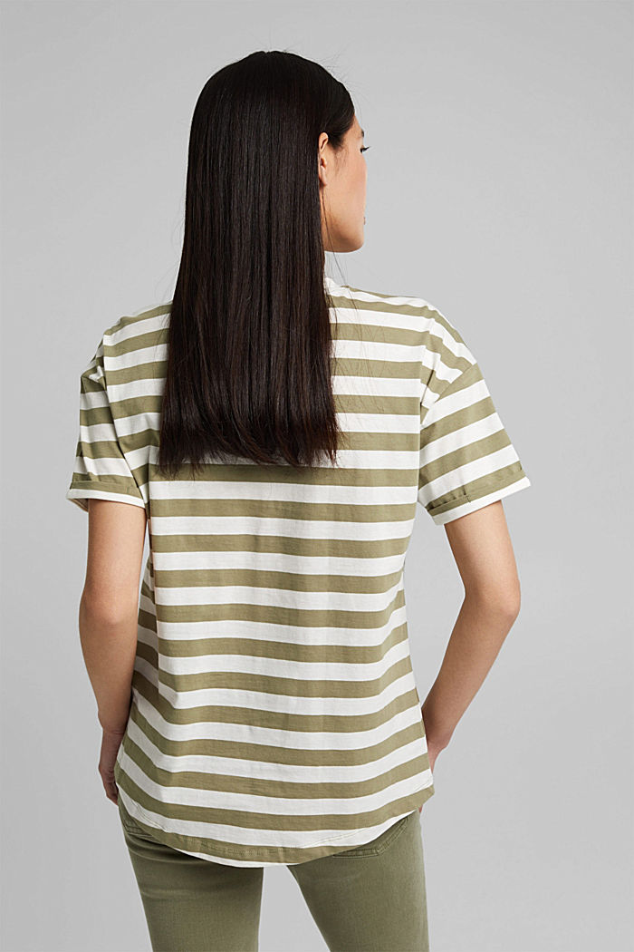 Striped T-shirt made of 100% organic cotton, LIGHT KHAKI, detail image number 3