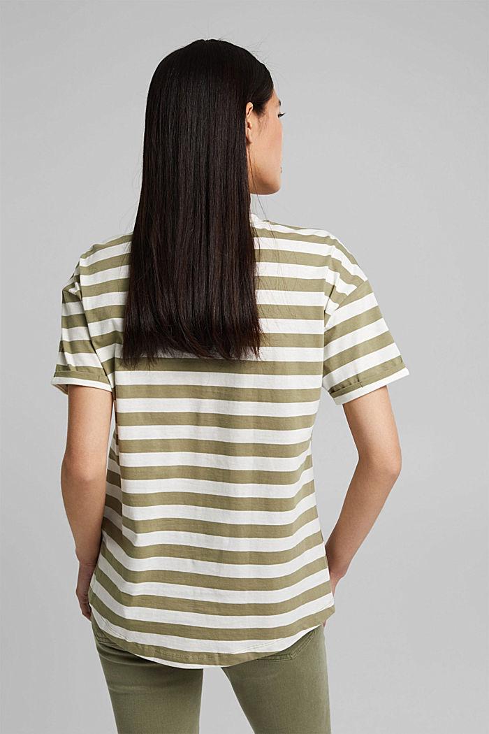 Gestreiftes T-Shirt aus 100% Bio-Baumwolle, LIGHT KHAKI, detail image number 3