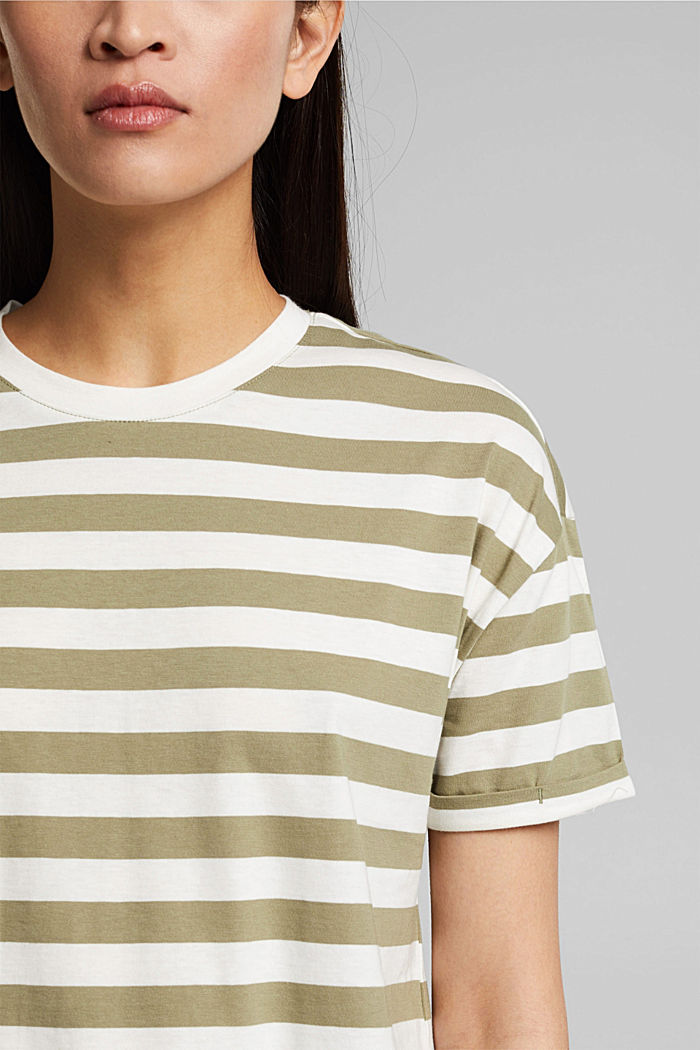 Striped T-shirt made of 100% organic cotton, LIGHT KHAKI, detail image number 2