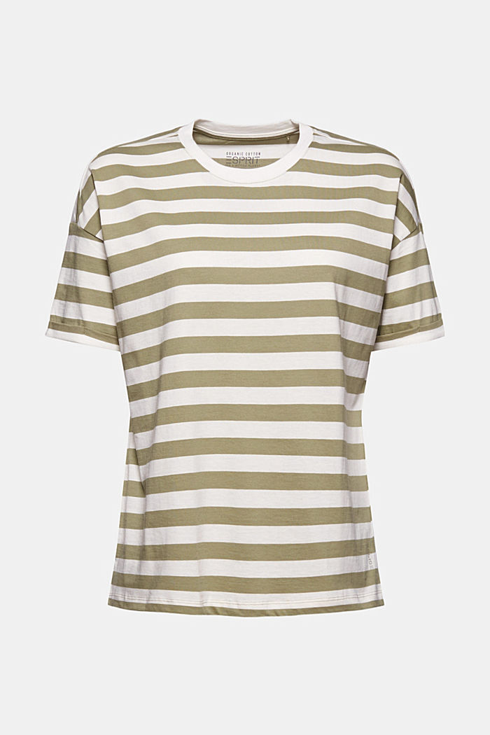 Striped T-shirt made of 100% organic cotton, LIGHT KHAKI, detail image number 5