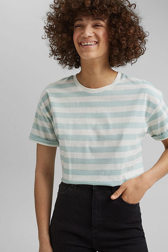 Gestreiftes T-Shirt aus 100% Bio-Baumwolle, LIGHT AQUA GREEN, detail image number 0