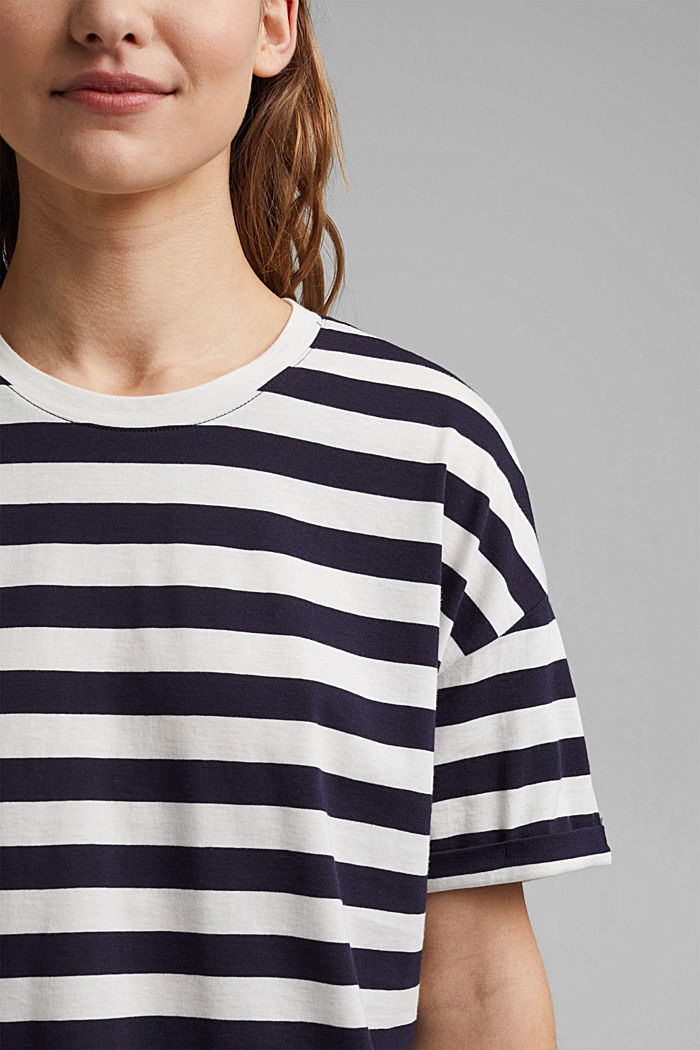 Striped T-shirt made of 100% organic cotton, NAVY, detail image number 2