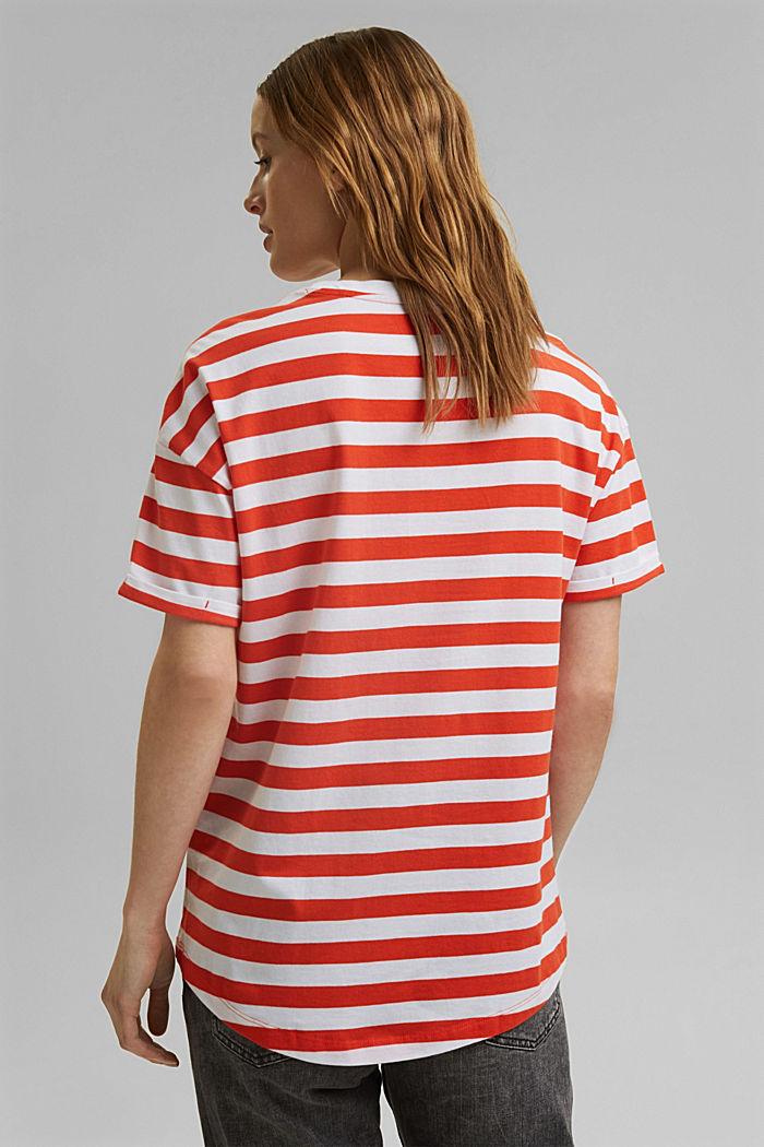Gestreept T-shirt van 100% biologisch katoen, ORANGE RED, detail image number 3