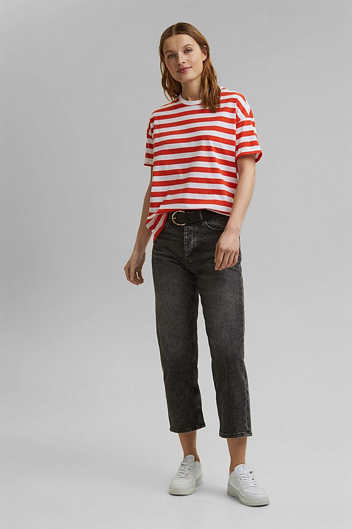 Gestreept T-shirt van 100% biologisch katoen, ORANGE RED, detail image number 1