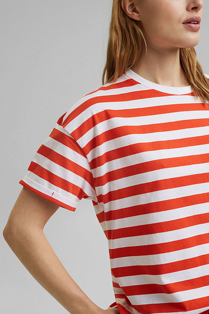 Gestreept T-shirt van 100% biologisch katoen, ORANGE RED, detail image number 2