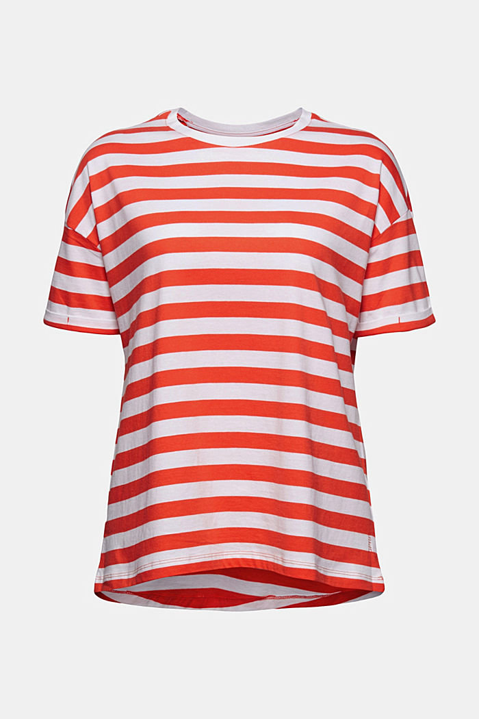 Striped T-shirt made of 100% organic cotton, ORANGE RED, overview