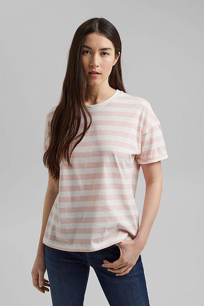 Gestreept T-shirt van 100% biologisch katoen, NUDE, detail image number 0