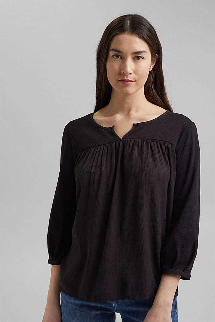 Top made of LENZING™ ECOVERO™ and organic cotton, BLACK, detail image number 0