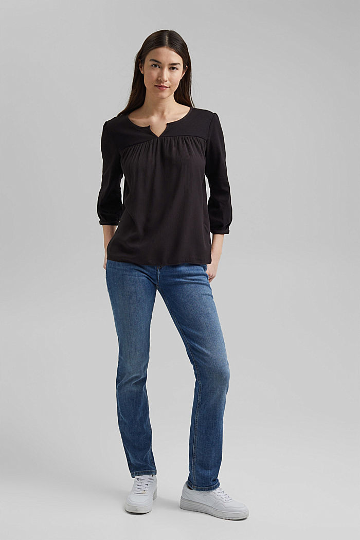 Top made of LENZING™ ECOVERO™ and organic cotton, BLACK, detail image number 1