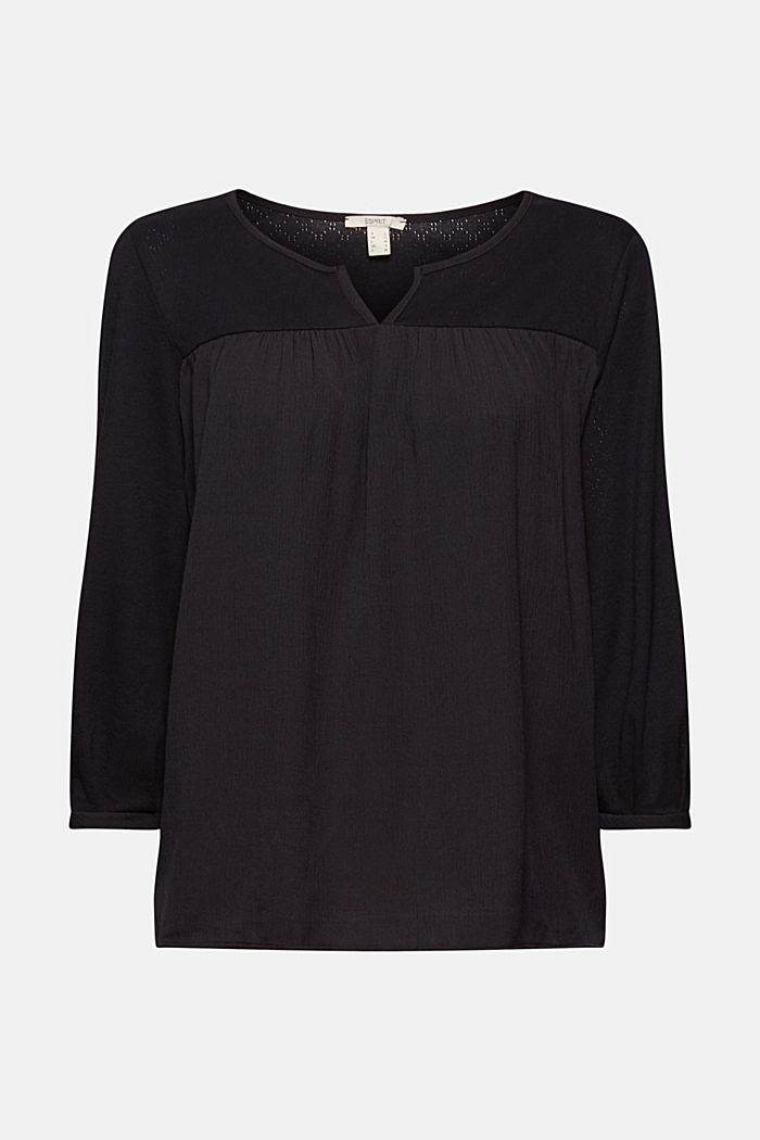 Top made of LENZING™ ECOVERO™ and organic cotton, BLACK, detail image number 5
