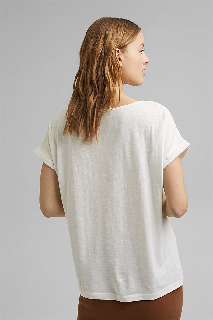 Boxy mixed material top containing organic cotton, OFF WHITE, detail image number 3