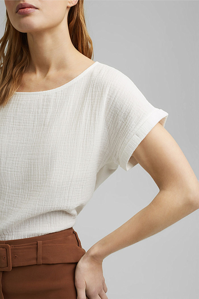 Boxy mixed material top containing organic cotton, OFF WHITE, detail image number 2
