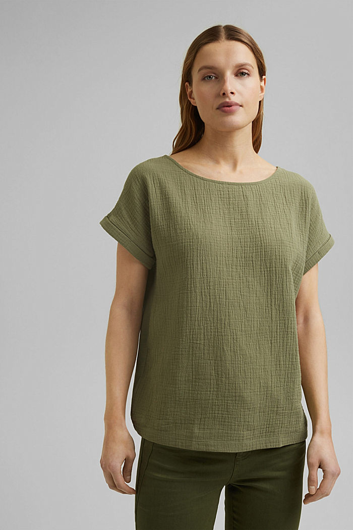 Boxy mixed material top containing organic cotton, LIGHT KHAKI, detail image number 0