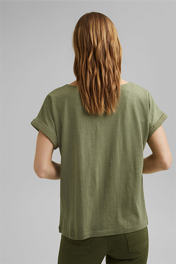 Boxy mixed material top containing organic cotton, LIGHT KHAKI, detail image number 3