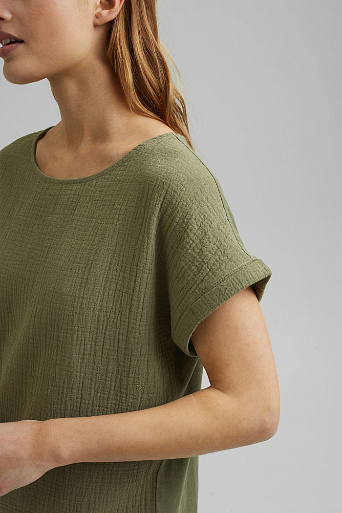 Boxy mixed material top containing organic cotton, LIGHT KHAKI, detail image number 2