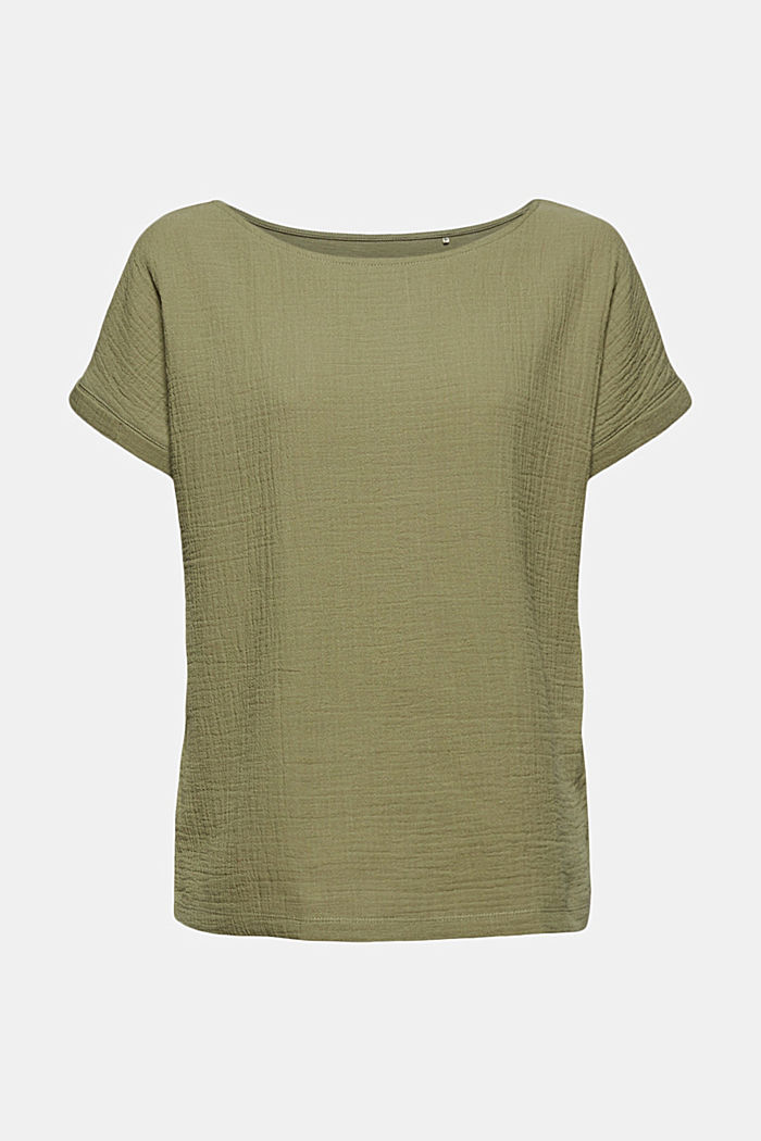 Boxy mixed material top containing organic cotton, LIGHT KHAKI, detail image number 6