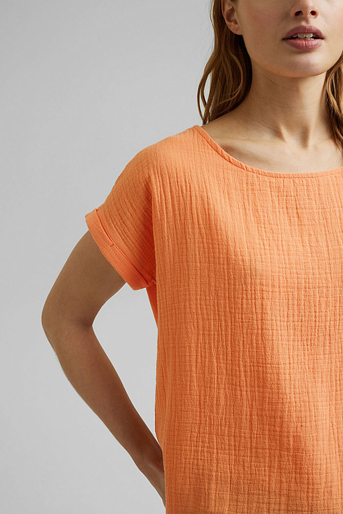 Boxy mixed material top containing organic cotton, PEACH, detail image number 2