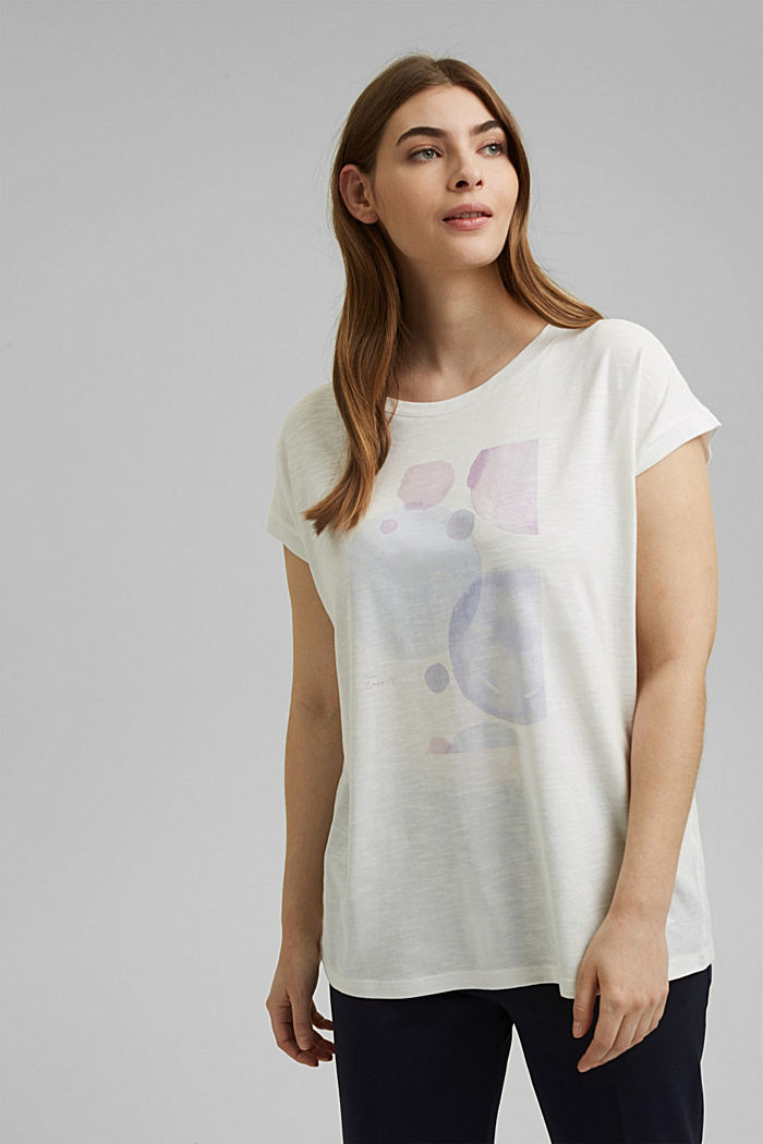 CURVY print T-shirt, organic cotton/TENCEL™, OFF WHITE, detail image number 0