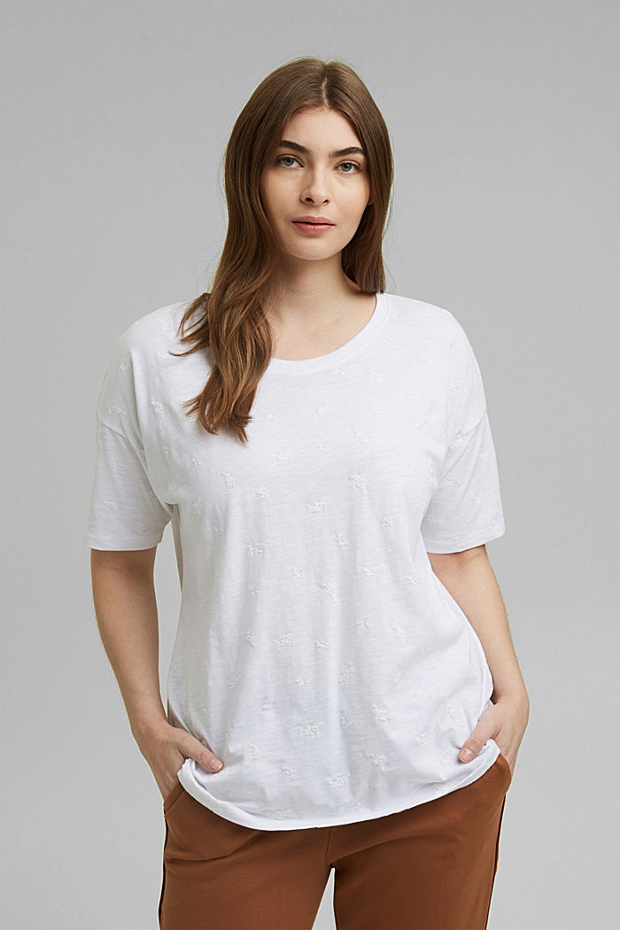 Recycled: CURVY T-shirt with embroidery, OFF WHITE, detail image number 0