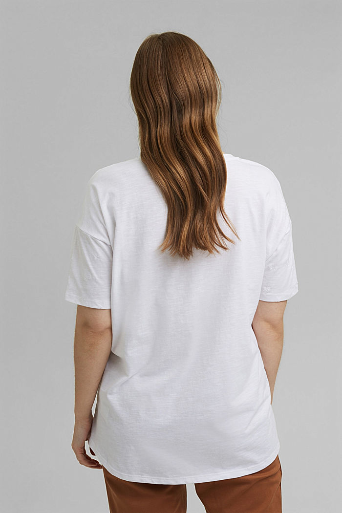 Gerecycled: CURVY T-shirt met borduursels, OFF WHITE, detail image number 3